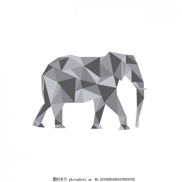象多边形图 动物 多边形 大象 轮廓 几何 灰色 三角形 三角动物 低聚