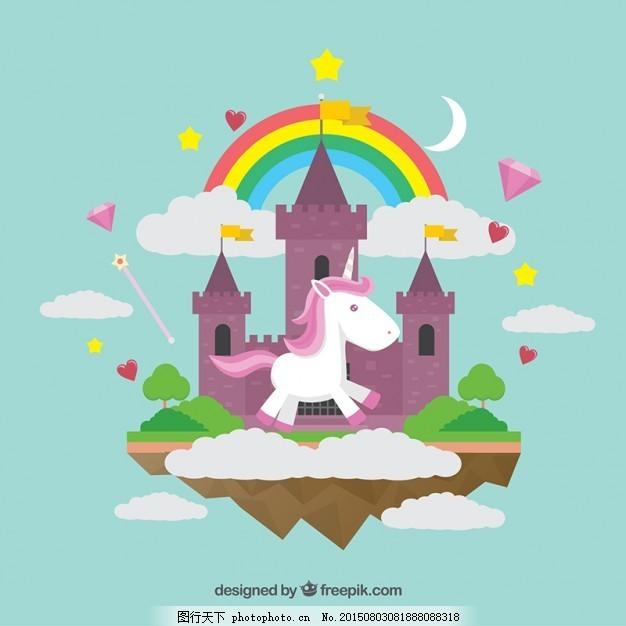 仙境世界与独角兽 背景 图案 花冠 动物 钻石 手画 快乐 糖果