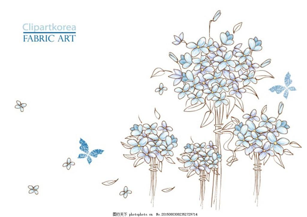 蓝色铅笔画蝴蝶与绣球花