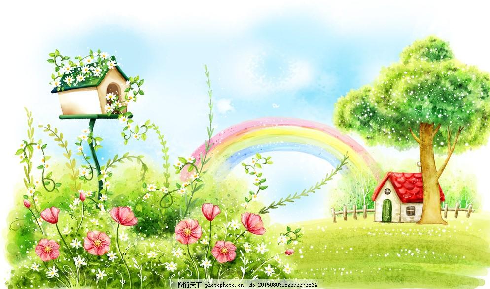 晴空万里夏日风景彩虹手绘插画 唯美 浪漫 风景 蓝天白云 彩虹 小屋