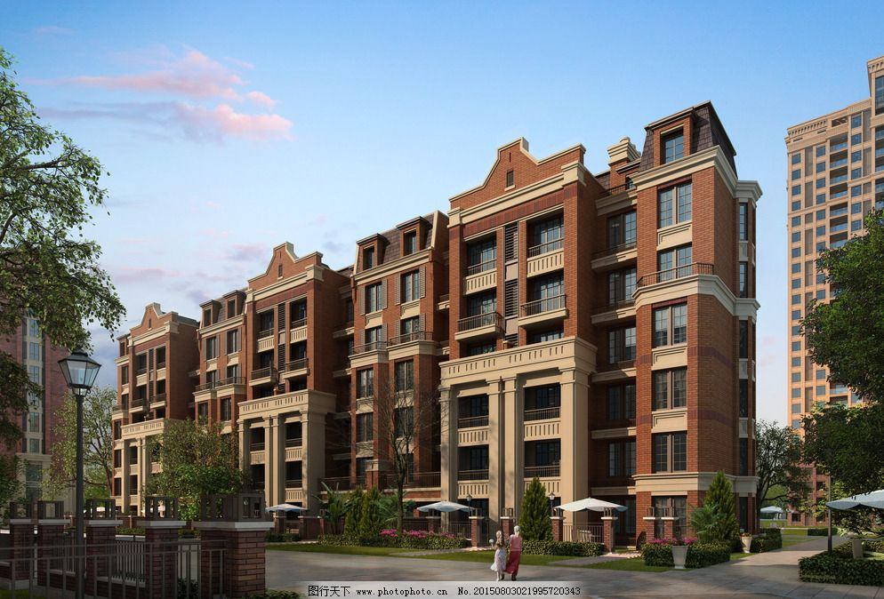 六层精品住宅图片免费下载 3d设计 72dpi jpg 花园洋房 简欧风格 建筑