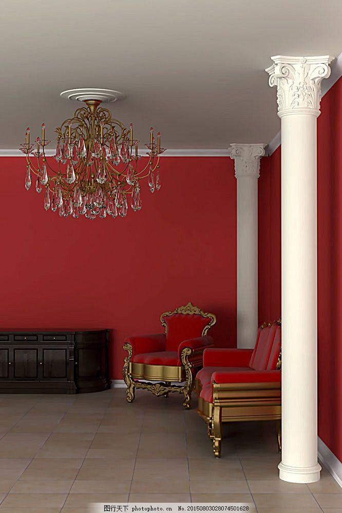 室内一角 室内设计风格 欧式风格 环境家居 图片素材     红色 jpg
