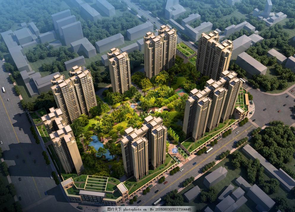 建筑鸟瞰图 房地产 园林 效果图 楼盘 房地产素材 树 宜居 地产风景