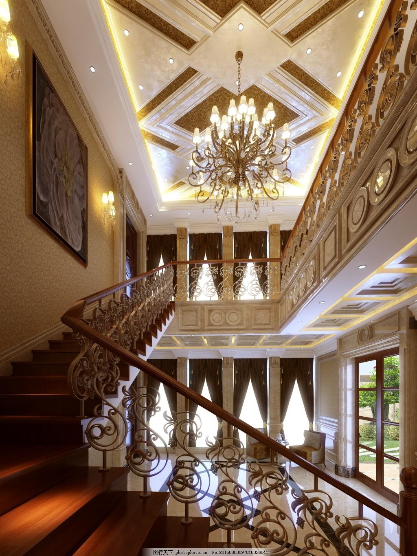 金碧辉煌的楼梯间 罗马柱 吊顶 气派 壁画     黑色 jpg