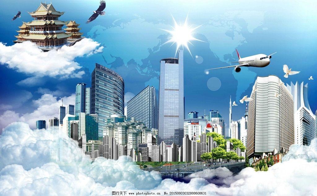 云层高楼大厦云层城市标志性建筑图片