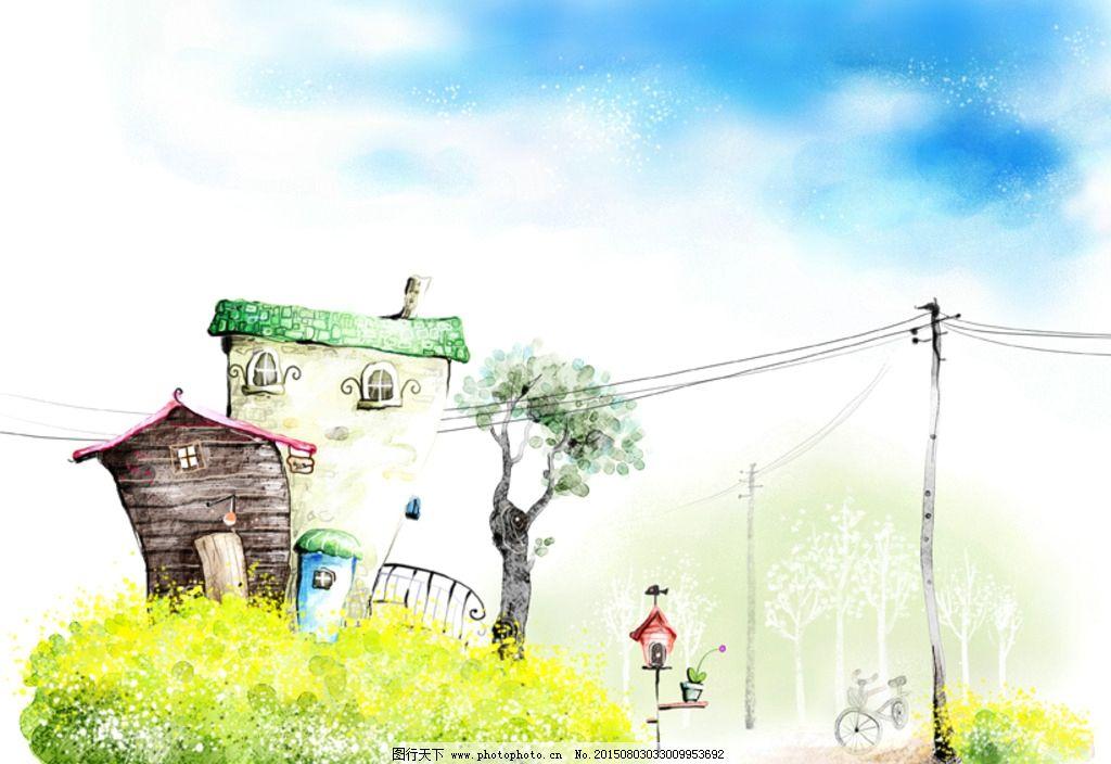 手绘水彩乡村风景插画图片