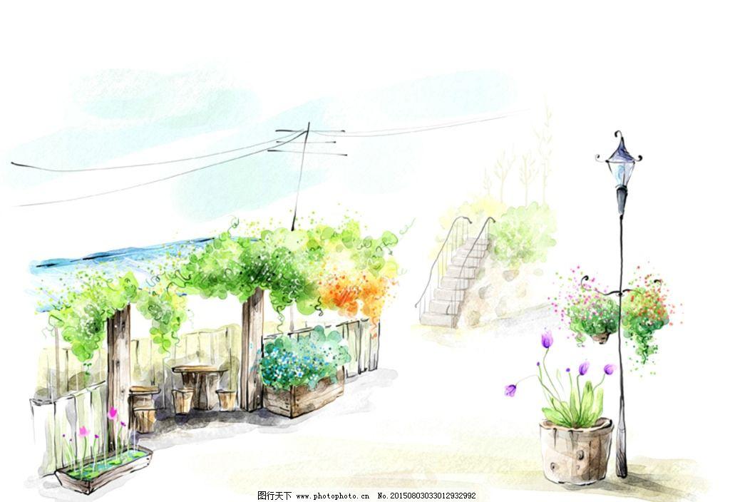 手绘水彩街景风景插画图片