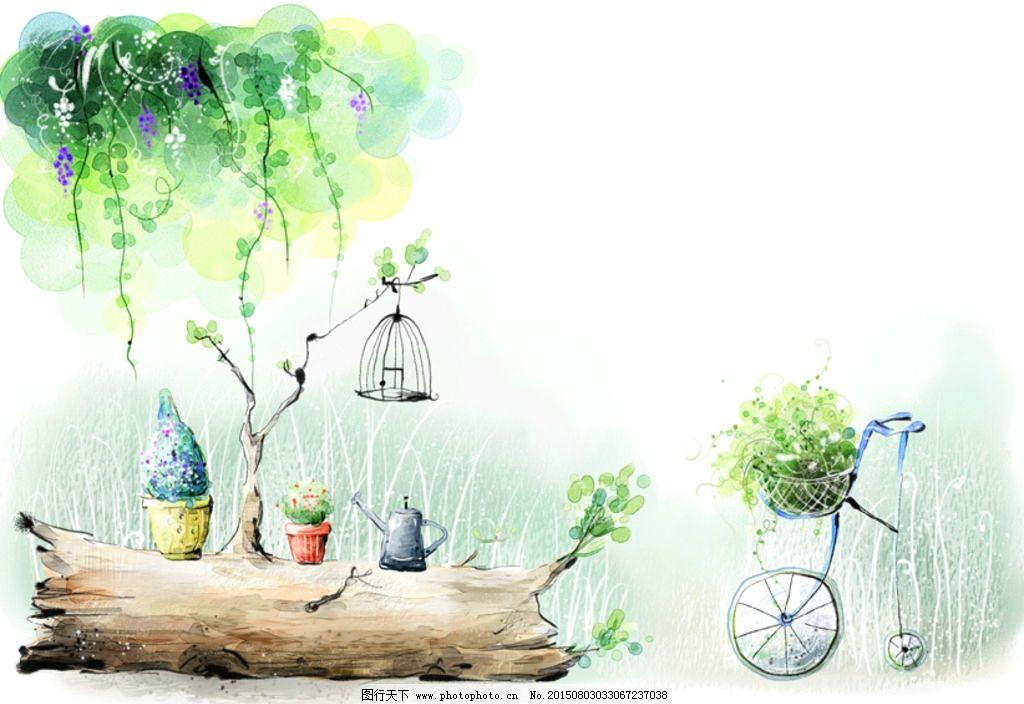 自行车 手绘枯枝 盆栽