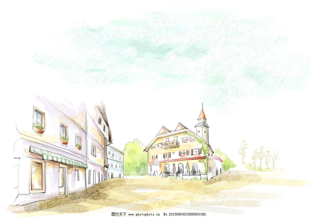 水彩欧式街景 欧式街景风光 水粉街景画 欧式建筑 城堡 遮阳棚 树木