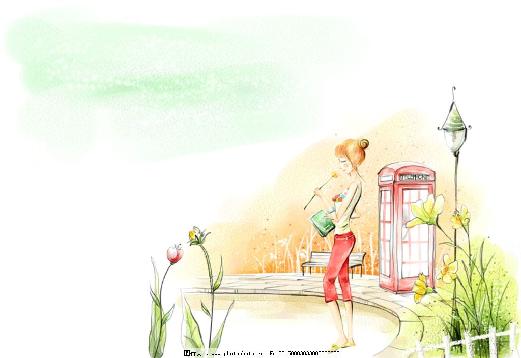 手绘水彩女孩街景风景插画图片