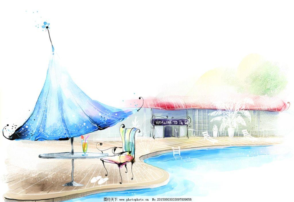 手绘水彩游泳池风景插画图片