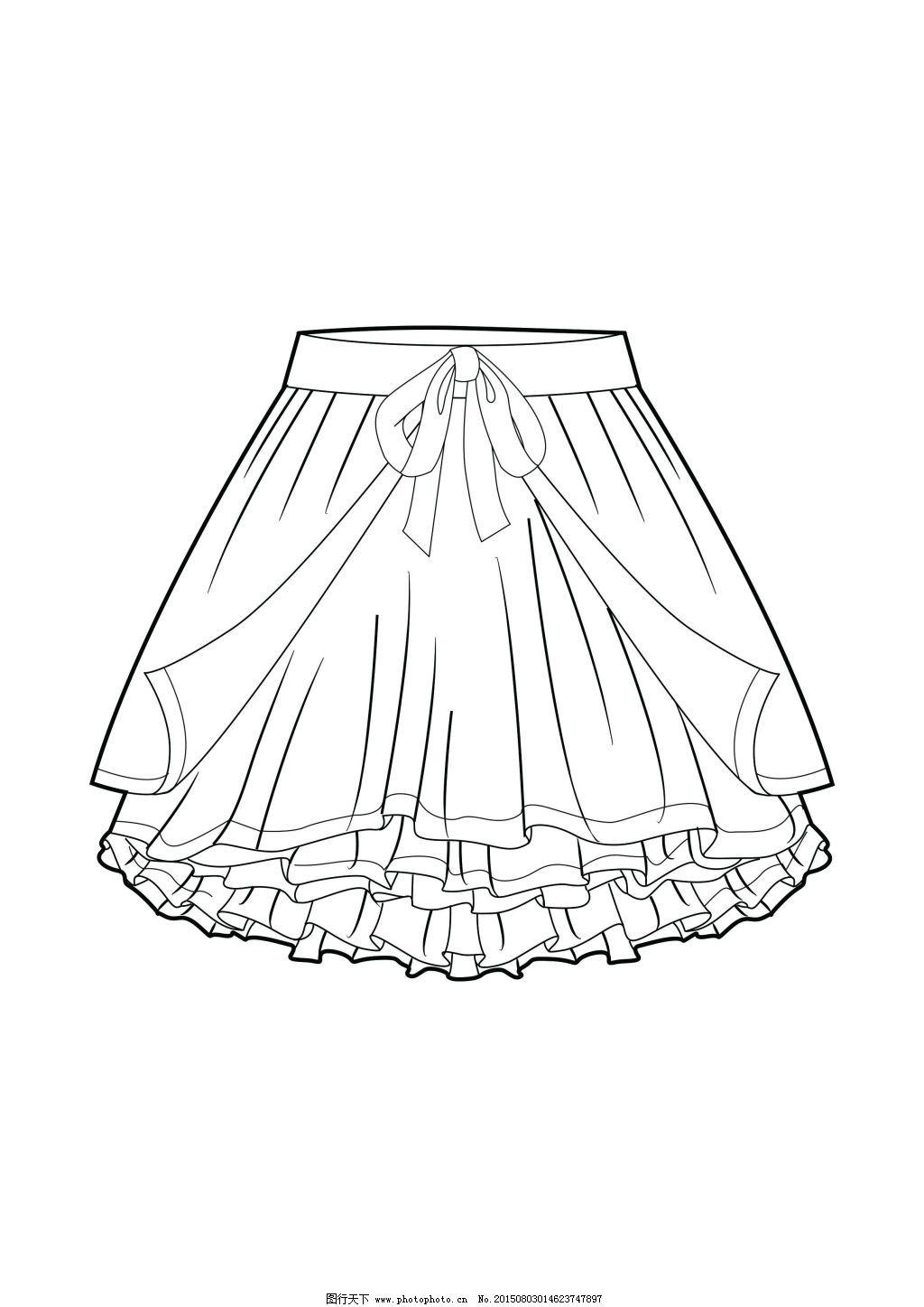 裙子免费下载 服装设计 款式图      款式图 千层裙      服装设计