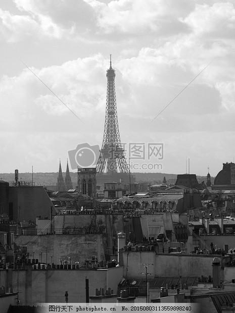 黑白色的埃菲尔铁塔 艾菲尔铁塔 巴黎 法国 欧洲 塔 具有里程碑意义