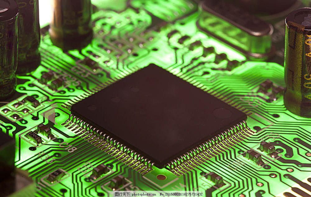 绿色的电脑主板 电路 电路板 现代科技 金色 蓝色 其他类别 图片素材