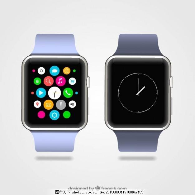 智能手表 技术 时钟 应用程序 小工具 白色