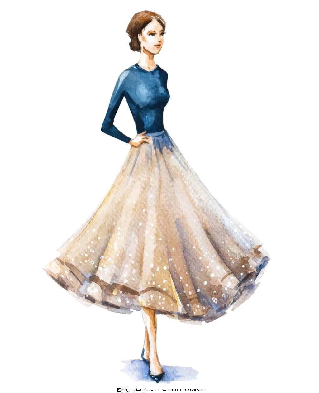 晚礼服美女 人物 手绘 美女 模特 晚礼服 ai 白色 ai