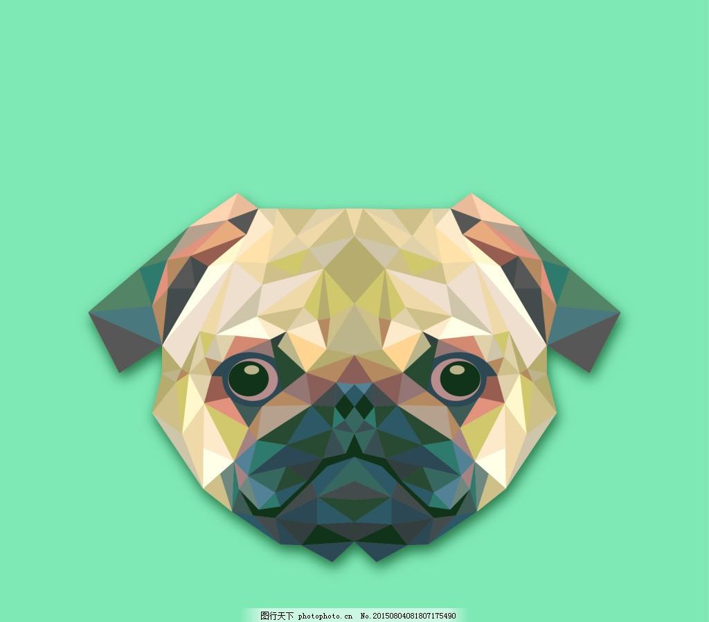 三角形的低边形狗设计 表情 动物 多边形 狗脸 可爱 可爱宠物
