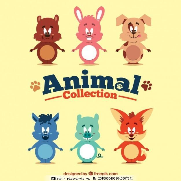 狗 自然 猫 动物 卡通 手工画 可爱 猪 兔 狐狸 有趣 松鼠 可爱动物