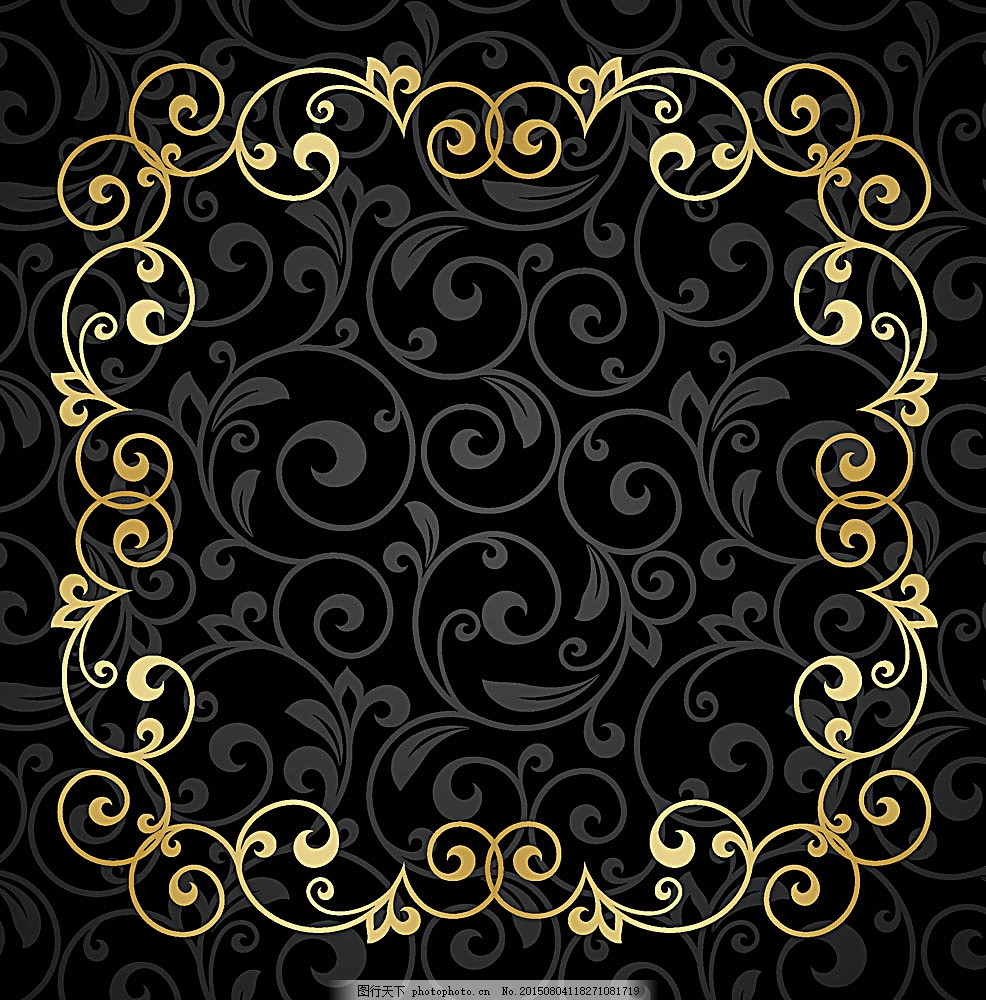 黑色花纹背景金色边框 欧式花纹 古典花纹 传统花纹 背景边框 装饰