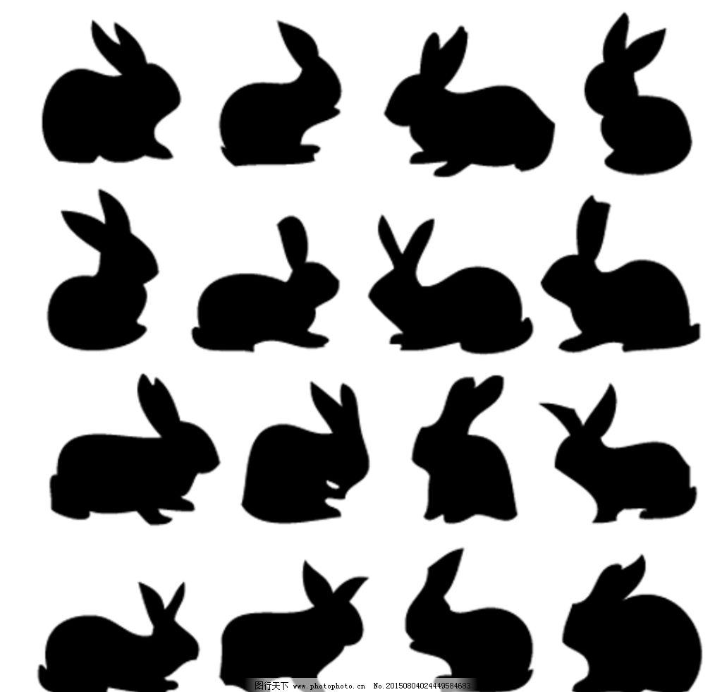 兔子 剪影 矢量 黑白 插图 设计 生物世界 野生动物 ai