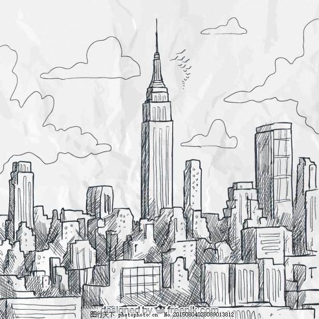 粗略的纽约天际线 市方面 建筑 手绘 新的天际线 绘画 镇 城市天际线