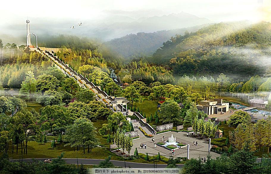 公园建筑透视效果图