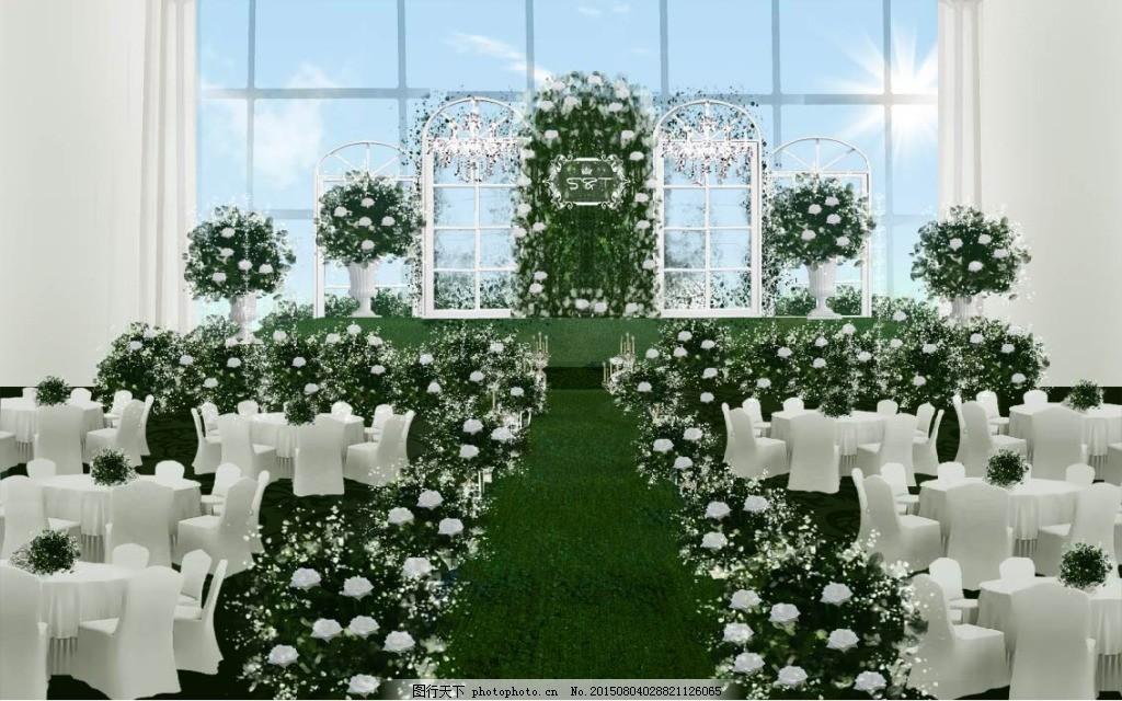 森系小清新婚礼主题效果图 白绿风格 创意婚礼 婚礼布置 婚礼餐厅