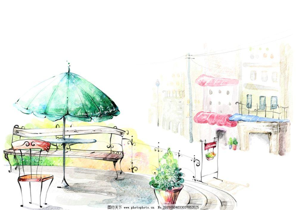 水粉街景画 欧式建筑      栅栏 遮阳棚 太阳伞 长椅 椅子 台阶 广告图片