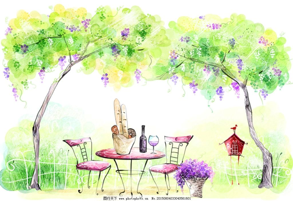 手绘水彩自然风景插画图片