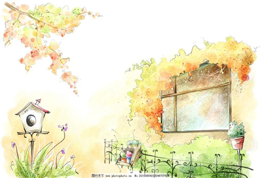 手绘水彩街景一角风景插画图片