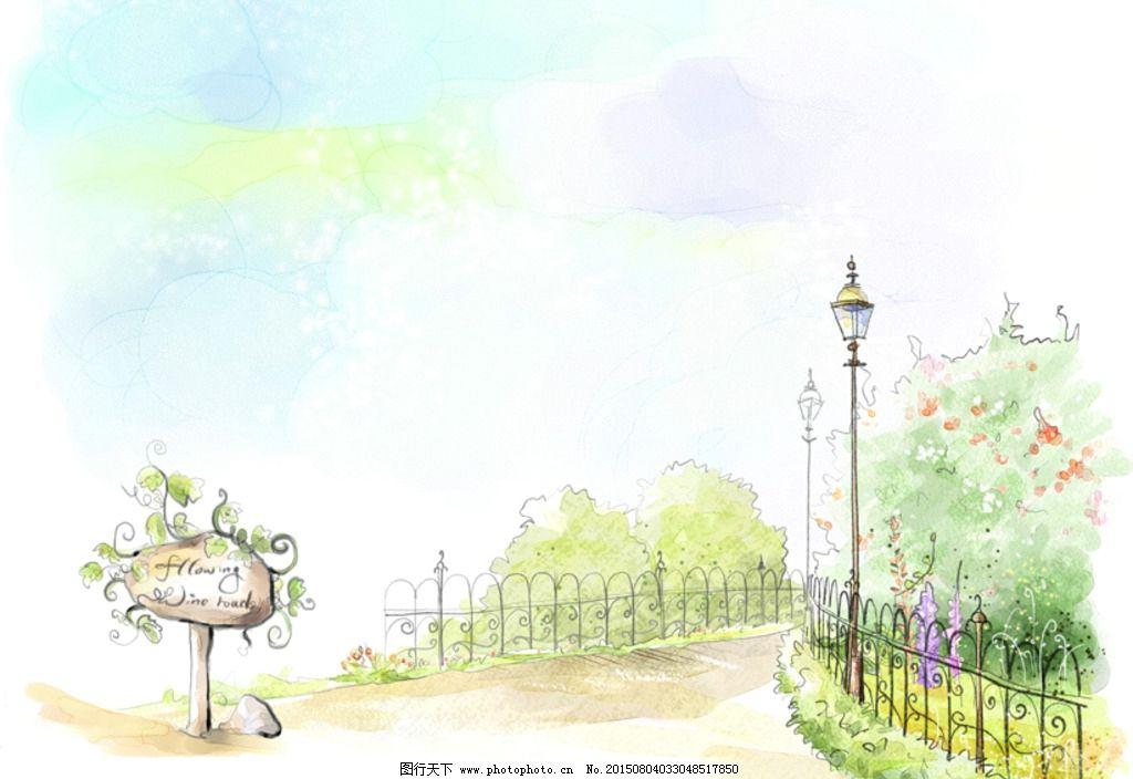 手绘水彩公园风景插画图片