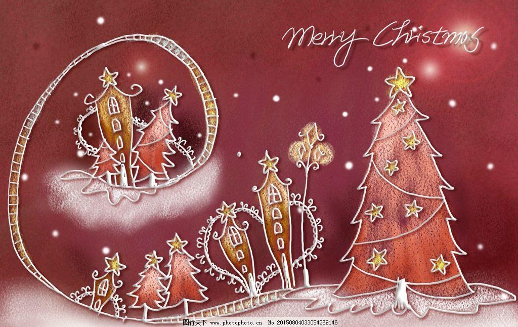 手绘线条圣诞节风景插画图片