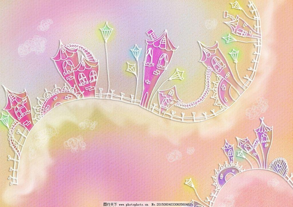 手绘抽象线条小镇风景插画图片