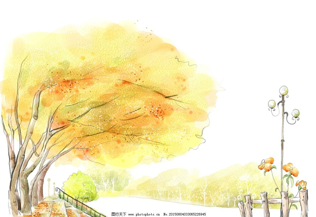 风景画 朦胧意境 水墨画 无框画 手绘卡通插画 设计 psd分层素材 psd