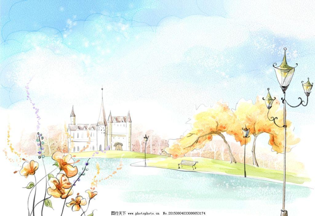 城堡 树木 水面 湖面 手绘淡彩风景 浪漫 唯美背景 梦幻背景 水彩大