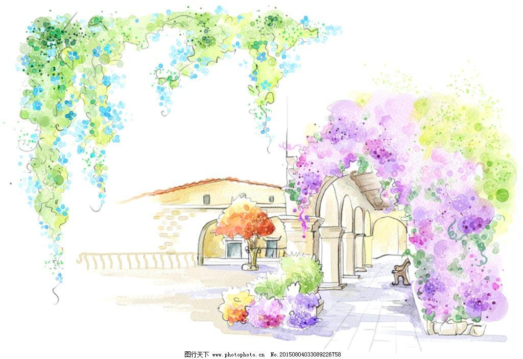 手绘水彩城市长廊风光插画图片