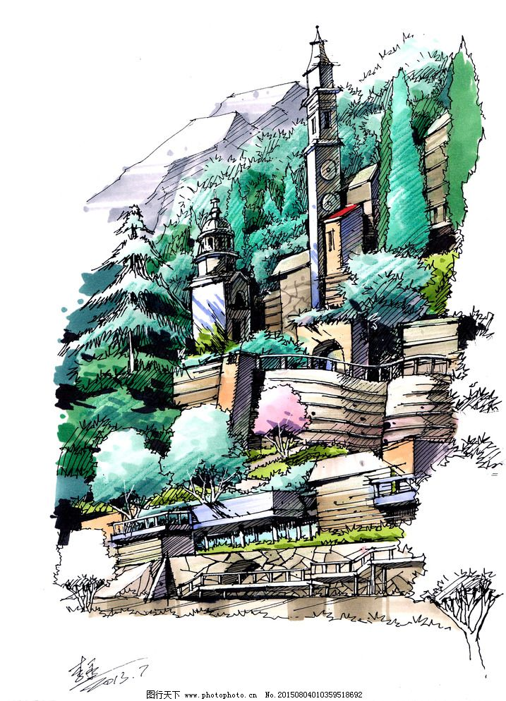 景观建筑手绘效果图图片