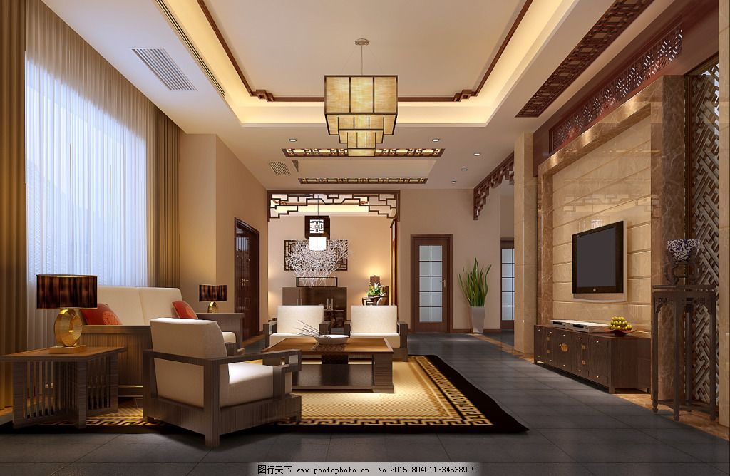 中式客厅设计效果图 电视墙 吊顶设计 室内设计 室内效果图 中式设计