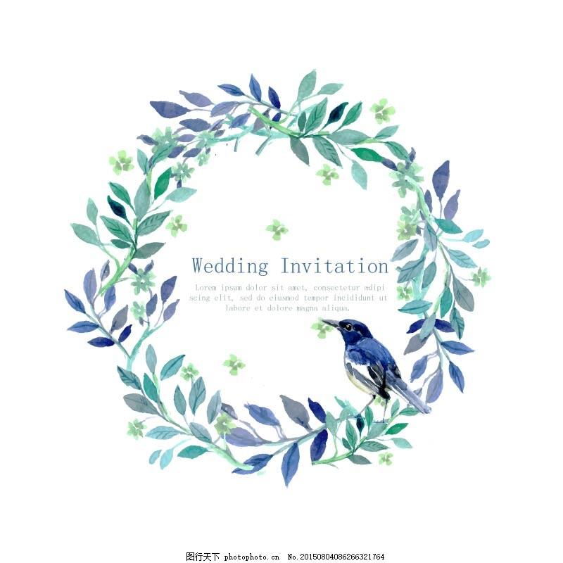 婚礼贺卡 欧式小清新手绘水彩画免费下载 花 鸟 手绘 小清新 叶子 ai