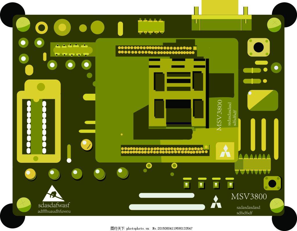 电路板 电子 科技 绿色 其他矢量图 矢量素材 矢量图 电子板 ai 白色