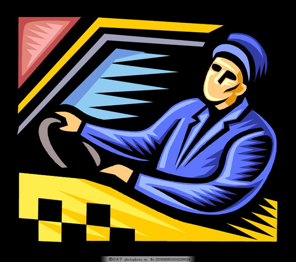 的哥 ai 矢量 美式插画 彩色版画 版画风格 各行业人物 出租车 司机图片