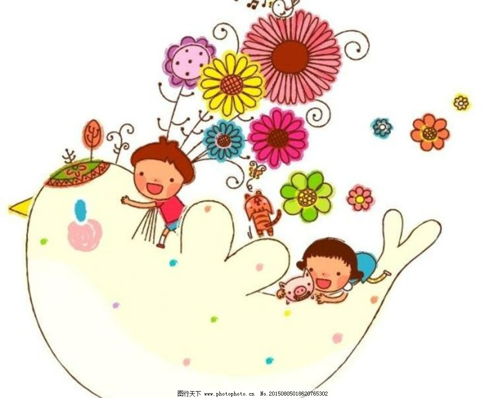卡通儿童插画 花朵 相册模板 动漫动画