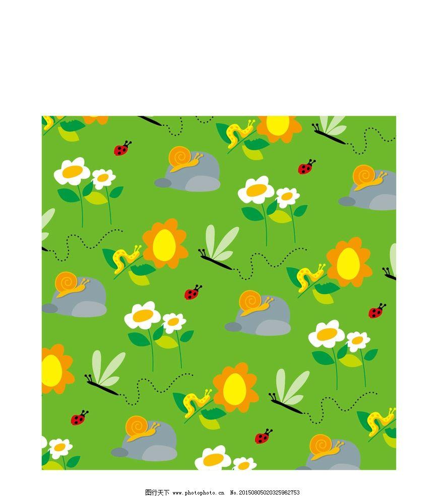 绿色率色底纹 矢量 蜻蜓 蜗牛 卡通蜻蜓 小甲虫 小花 设计 底纹边框