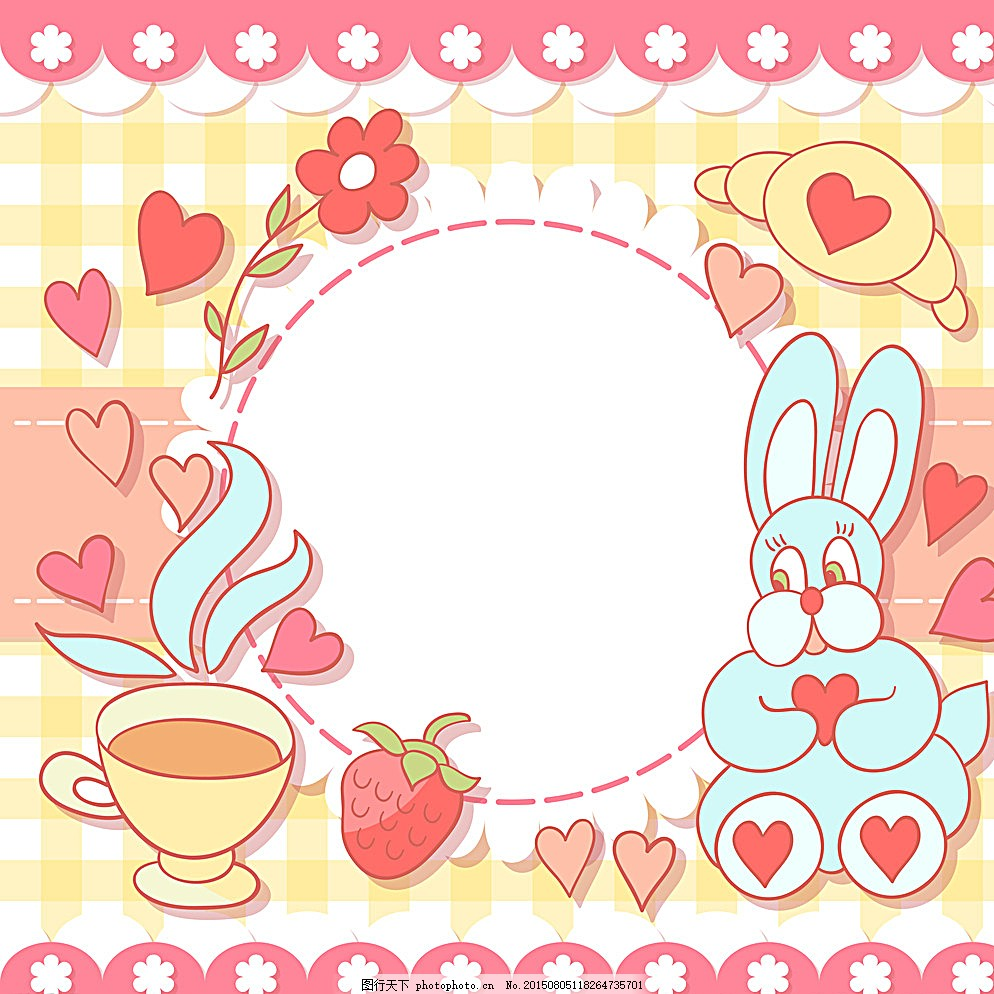 生日背景 手绘 贺卡 卡片 卡通兔子 生日海报 庆祝 生日快乐