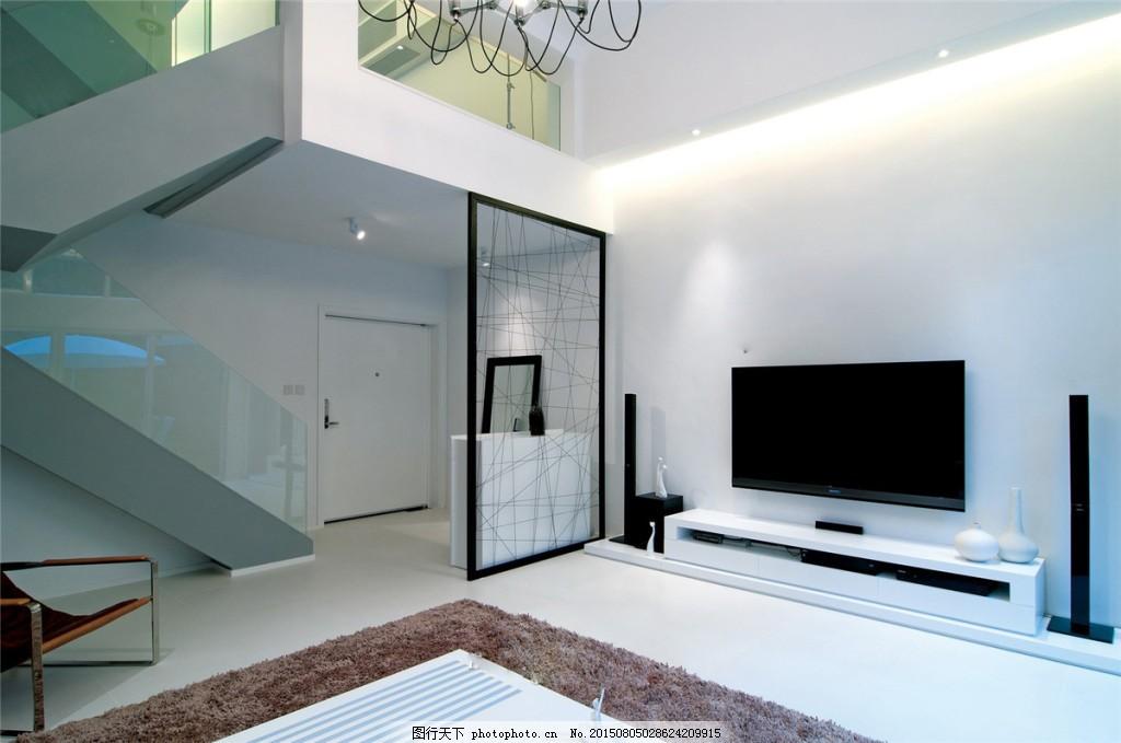 客厅灰色电视背景墙装修效果图 电视机 隔断 灰色地板砖 灰色电视柜
