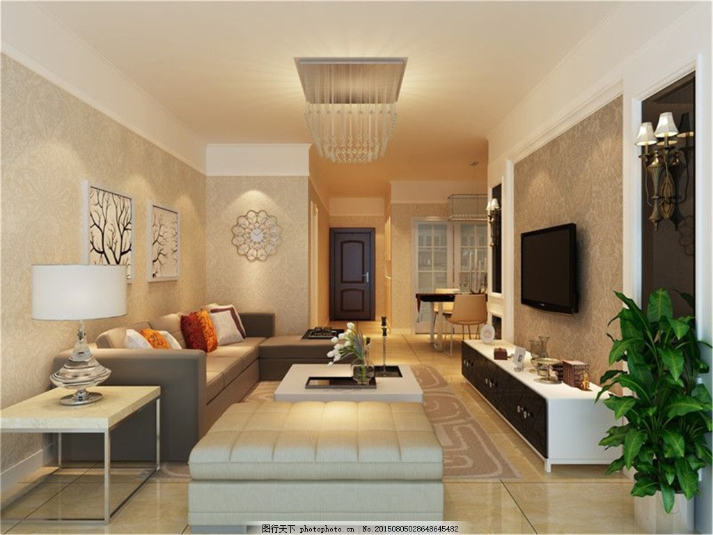 3d效果图设计 现代简约客厅效果图图片免费下载 茶几 窗帘 电视