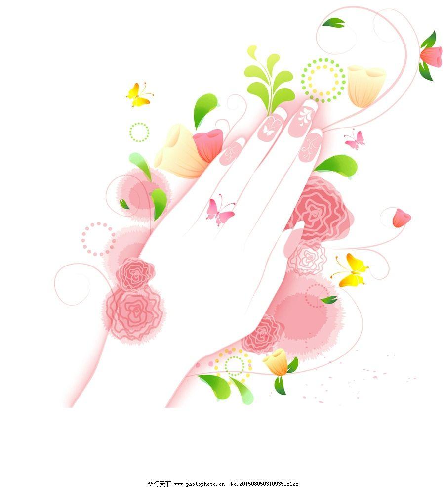 小清新 美甲插画 时尚美甲 美甲 美女插画 春天美女 清新美女 韩国