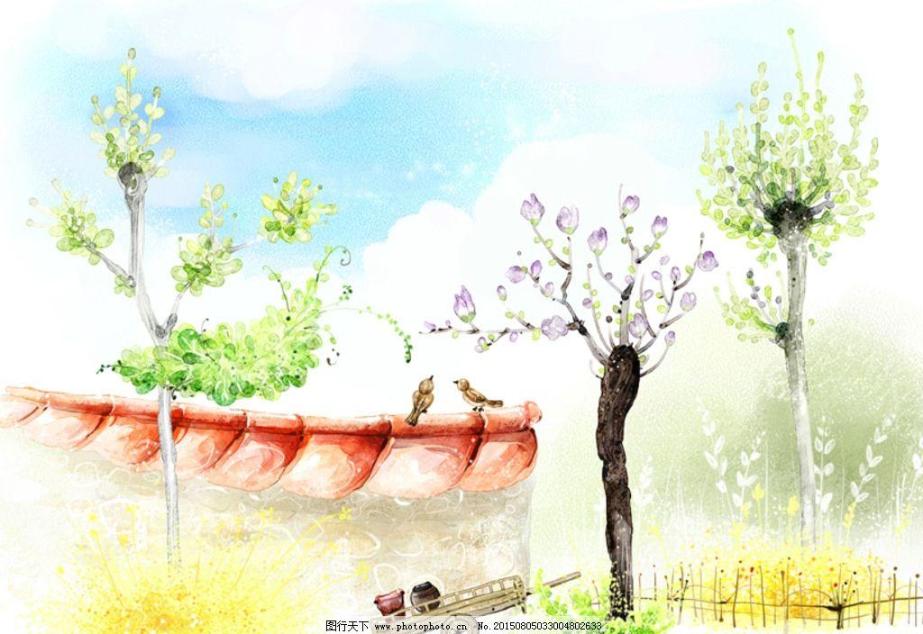手绘水彩墙角风光风景插画图片