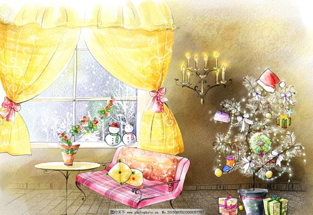 插画 手绘室内设计 窗户