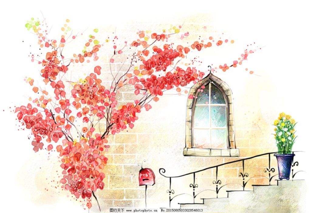 手绘水彩墙角风光插画图片